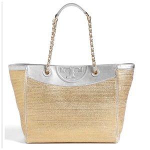 Auth Tory Burch Fleming Metallic Gold Silver Tote